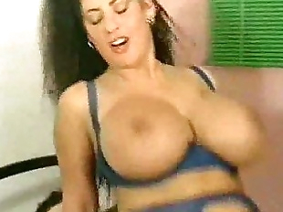 BustyTitziana Redford mega boobs in blue lingerie